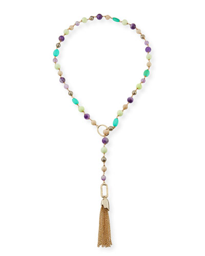 Beaded Lariat Tassel Necklace
