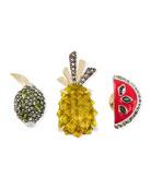 Fruit Pin Set w/ Crystals