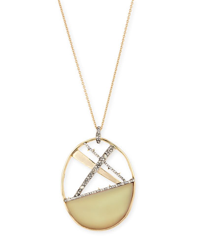 Crystal Encrusted Plaid Long Pendant Necklace
