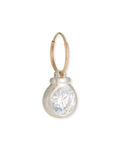 14k Single Luna Cubic Zirconia Earring