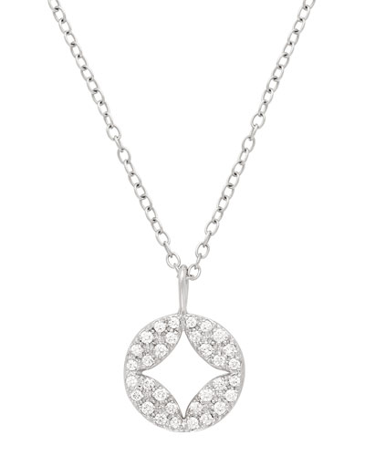 18k Open Aladdin Diamond Disc Pendant Necklace