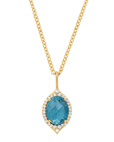 18k Oval Aladdin Pave Necklace w/ Blue Topaz & Diamonds