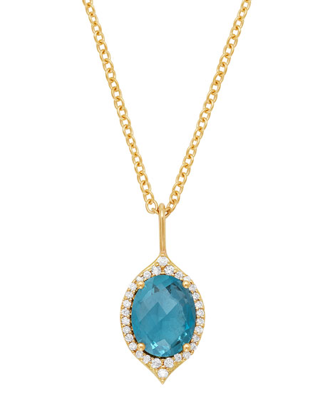 Jamie Wolf 18k Oval Aladdin Pave Necklace w/ Blue Topaz & Diamonds
