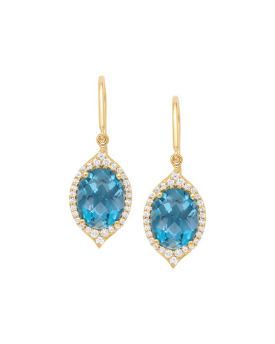 18k Small Oval Aladdin Pavé Earrings w/ Blue Topaz & Diamonds