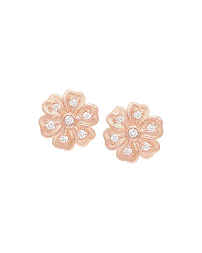 Lilac Diamond Flower Stud Earrings