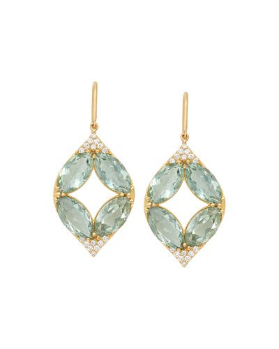 18k Marquise Oval Aladdin Earrings w/ Green Amethyst & Diamonds