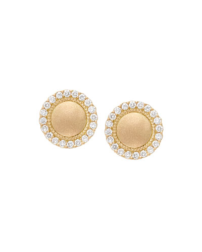 18k Diamond Pavé Edge Stud Earrings