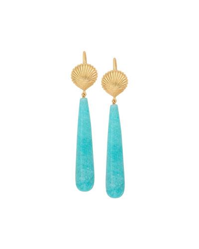 18k Amazonite Shell Earrings