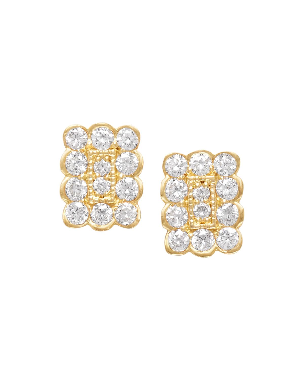 18k Small Rectangle Diamond Stud Earrings