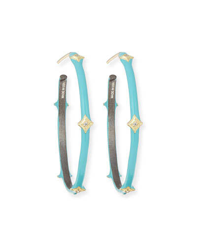 Old World 18k Turquoise Enamel Hoop Earrings
