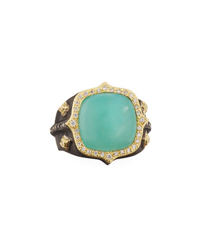 18k Old World Aquaprase & Diamond Ring