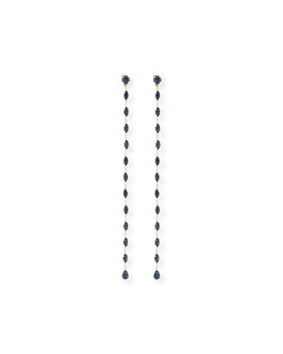 Long Linear Strass Crystal Clip Earrings