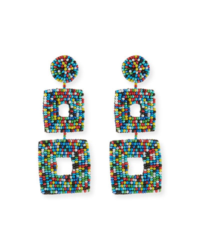 Double Square Seed Bead Drop Earrings, Light Multi