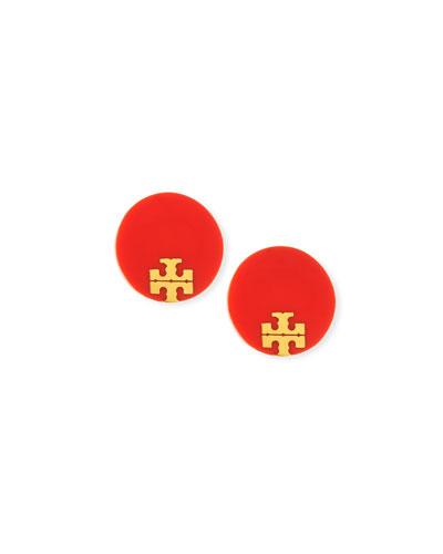 Enamel Logo Stud Earrings