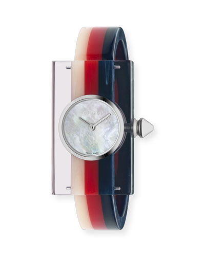 Tricolor Plexiglas Bangle Watch