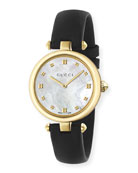 32mm Diamantissima Watch w/ Leather Strap, Black/Golden