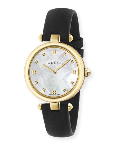 32mm Diamantissima Watch w/ Leather Strap, Black/Golden
