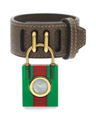 Constance Two-Tone Padlock Watch w/ Leather Strap