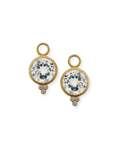 18k Provence Round Earring Charms, White Topaz