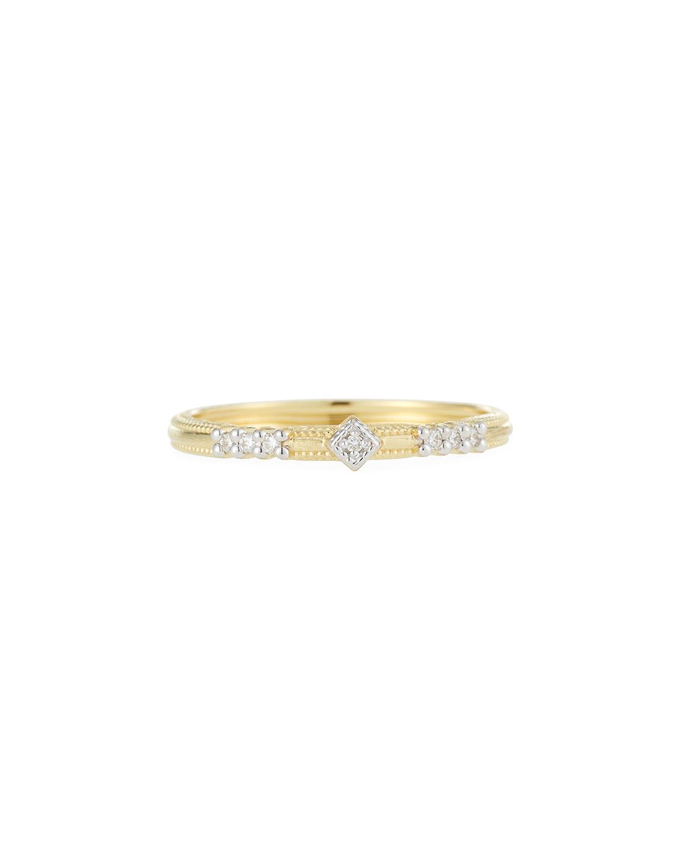 18k Lisse Triple Diamond Pave Ring