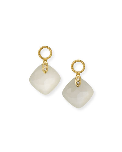 18k Lisse Cushion Earring Charms, Moonstone