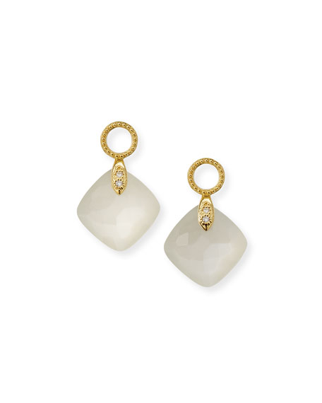 Jude Frances 18k Lisse Cushion Earring Charms, Moonstone
