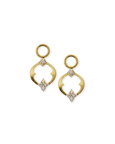 18k Moroccan Open Diamond Quad Circle Earring Charms