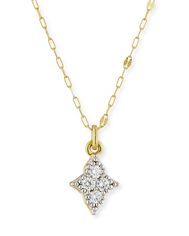 18k Moroccan Diamond Quad Pendant Necklace