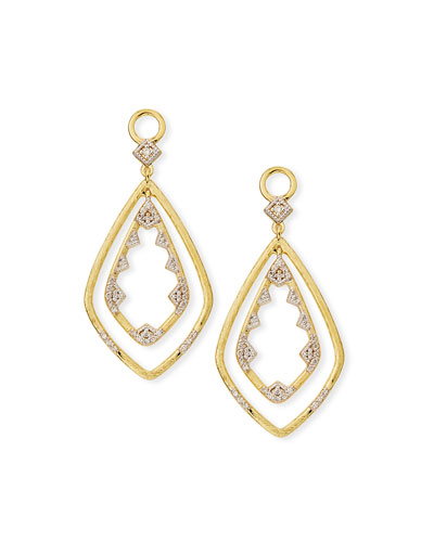 18k Lisse Double Drop Diamond Kite Earring Charms