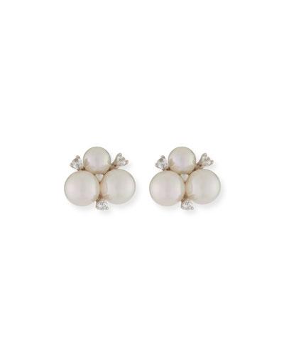 Pearly & Crystal Cluster Stud Earrings