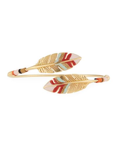 Penna Bypass Feather Enamel Bracelet