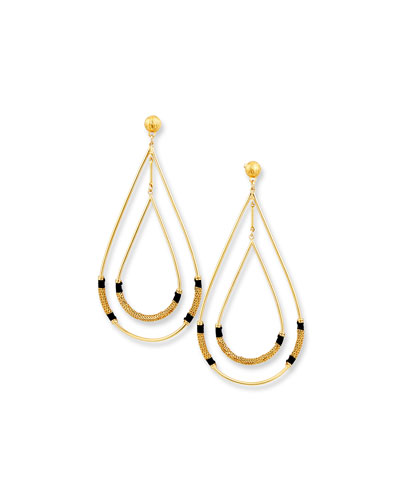 Quick Look Gas Bijoux Zanzibar Double Teardrop Earring Black Gold