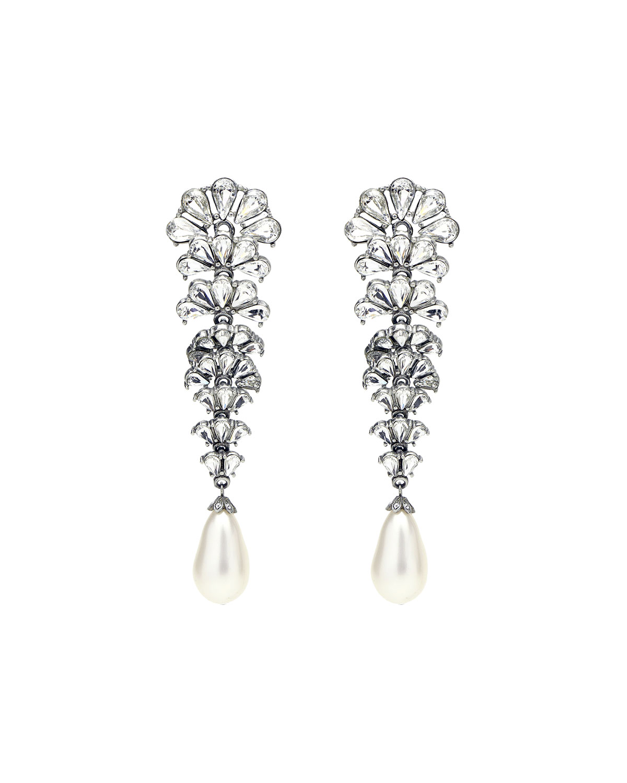 Crystal Fan Earrings w/ Pearly Teardrop