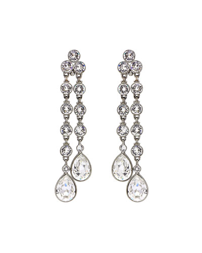 Double Teardrop Crystal Dangle Clip Earrings