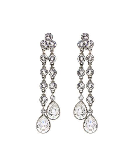 Ben-Amun Double Teardrop Crystal Dangle Clip Earrings