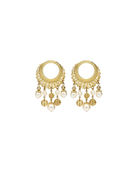Ben-Amun Round Pearly Drop Earrings