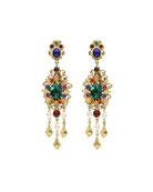 Multicolor Clip-On Drop Earrings
