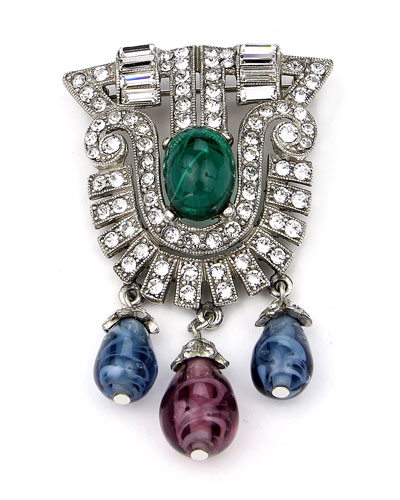 Crystal Multi-Drop Brooch