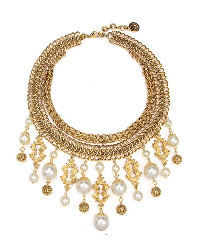 Golden Chain Multi-Drop Pearly Bib Necklace