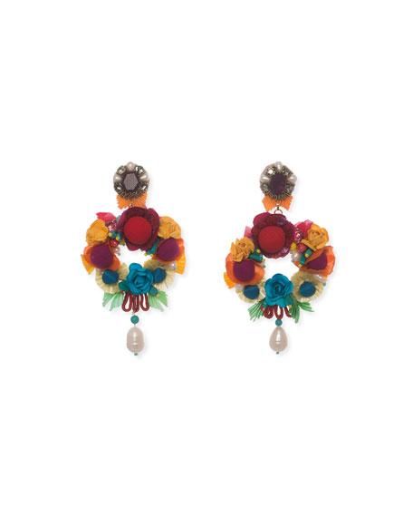 Ranjana Khan Lovebird Floral Drop Earrings