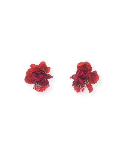 Scarlet Rose Stud Earrings