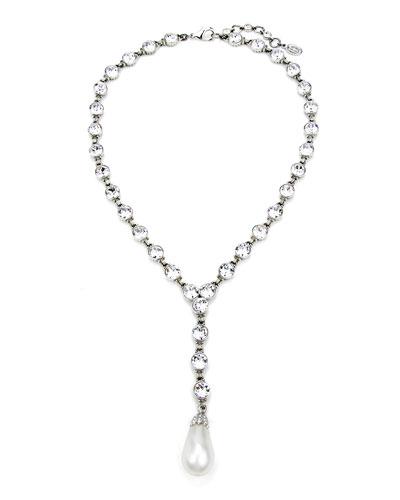 Crystal & Pearly Y-Drop Necklace