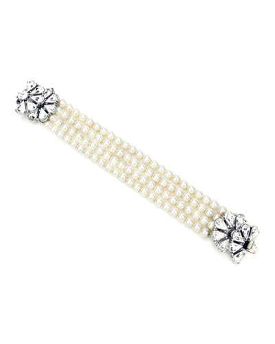Four-Row Pearly Beaded Fan-Motif Bracelet