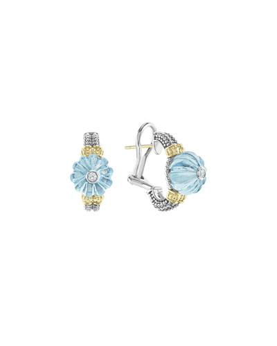 18k Caviar™ Forever Half Moon Earrings, Sky