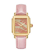 Deco 18 Sapphire & Diamond Watch with Pink Alligator Strap