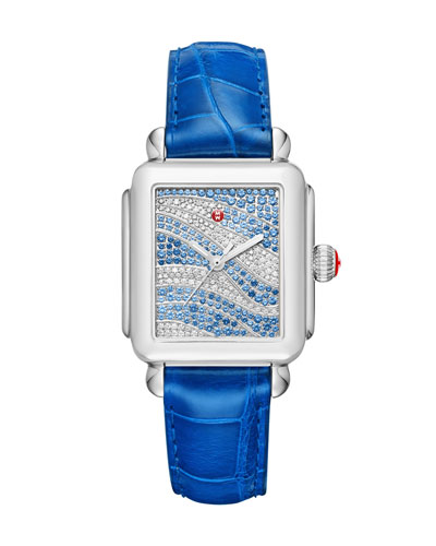 Deco 18 Sapphire & Diamond Watch with Blue Alligator Strap