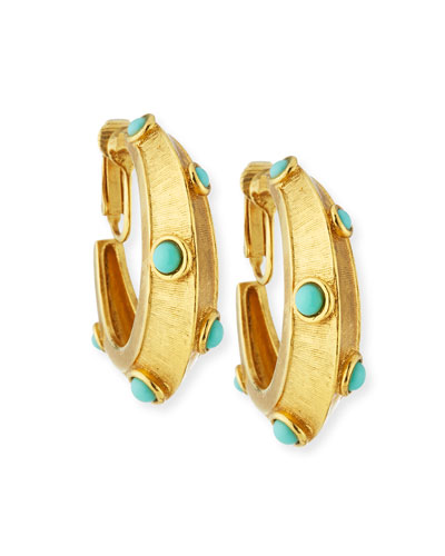 Turquoise Clip-On Hoop Earrings