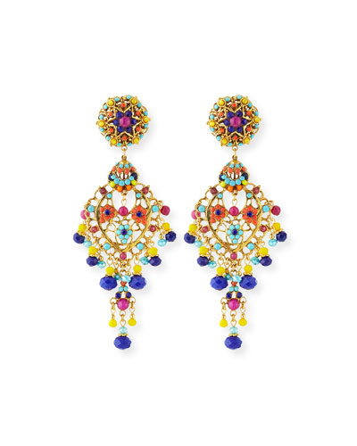 Bright Filigree Chandelier Earrings