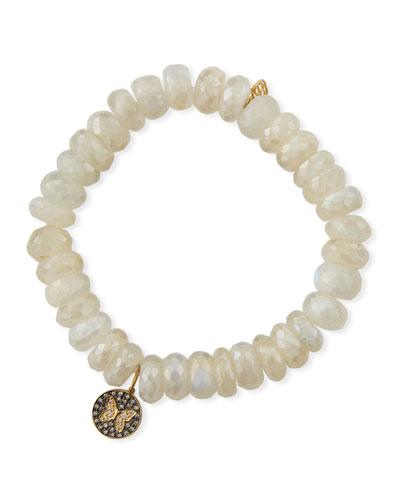 14k Moonstone & Diamond Butterfly Bracelet