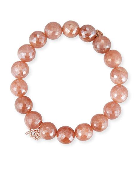 Sydney Evan Mauve Moonstone Bead Bracelet w/ 14k XO Charm